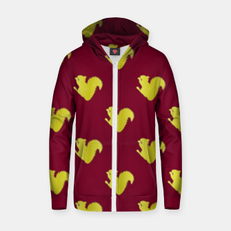 Thumbnail image of Gold squirrel on red Zip up hoodie, Live Heroes