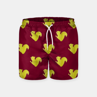 Thumbnail image of Gold squirrel on red Swim Shorts, Live Heroes