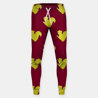 Thumbnail image of Gold squirrel on red Sweatpants, Live Heroes