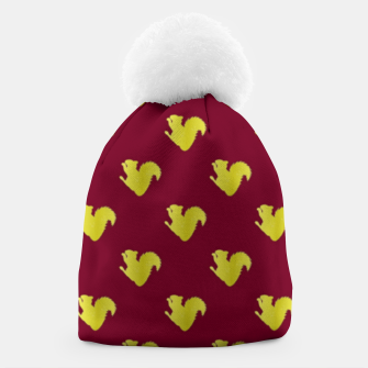 Thumbnail image of Gold squirrel on red Beanie, Live Heroes