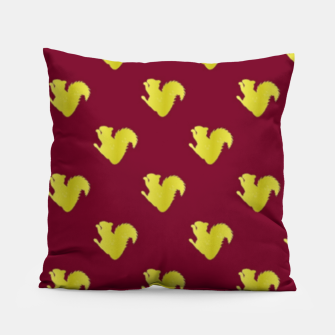 Thumbnail image of Gold squirrel on red Pillow, Live Heroes
