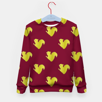 Thumbnail image of Gold squirrel on red Kid's sweater, Live Heroes