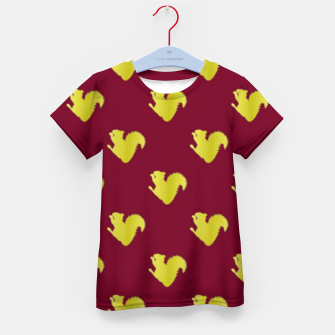 Thumbnail image of Gold squirrel on red Kid's t-shirt, Live Heroes