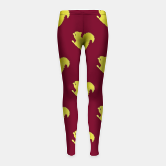 Thumbnail image of Gold squirrel on red Girl's leggings, Live Heroes