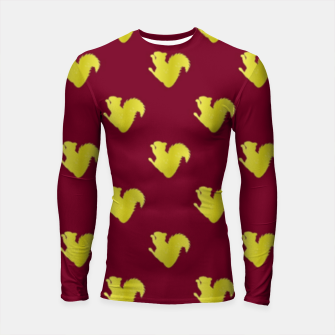 Thumbnail image of Gold squirrel on red Longsleeve rashguard , Live Heroes