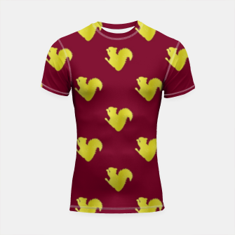 Thumbnail image of Gold squirrel on red Shortsleeve rashguard, Live Heroes
