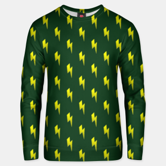 Thumbnail image of Yellow lightning bolts on green Unisex sweater, Live Heroes
