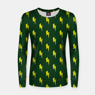 Thumbnail image of Yellow lightning bolts on green Women sweater, Live Heroes