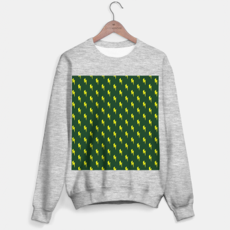 Thumbnail image of Yellow lightning bolts on green Sweater regular, Live Heroes