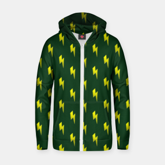 Thumbnail image of Yellow lightning bolts on green Zip up hoodie, Live Heroes