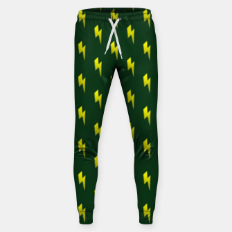 Thumbnail image of Yellow lightning bolts on green Sweatpants, Live Heroes