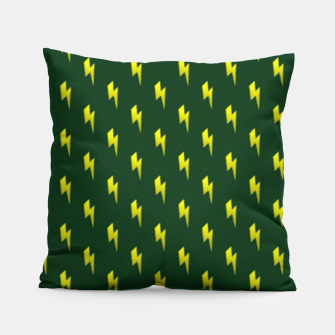 Thumbnail image of Yellow lightning bolts on green Pillow, Live Heroes