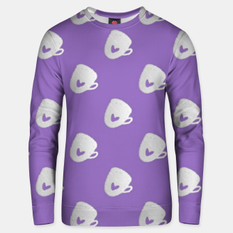 Thumbnail image of Silver mugs on purple Unisex sweater, Live Heroes