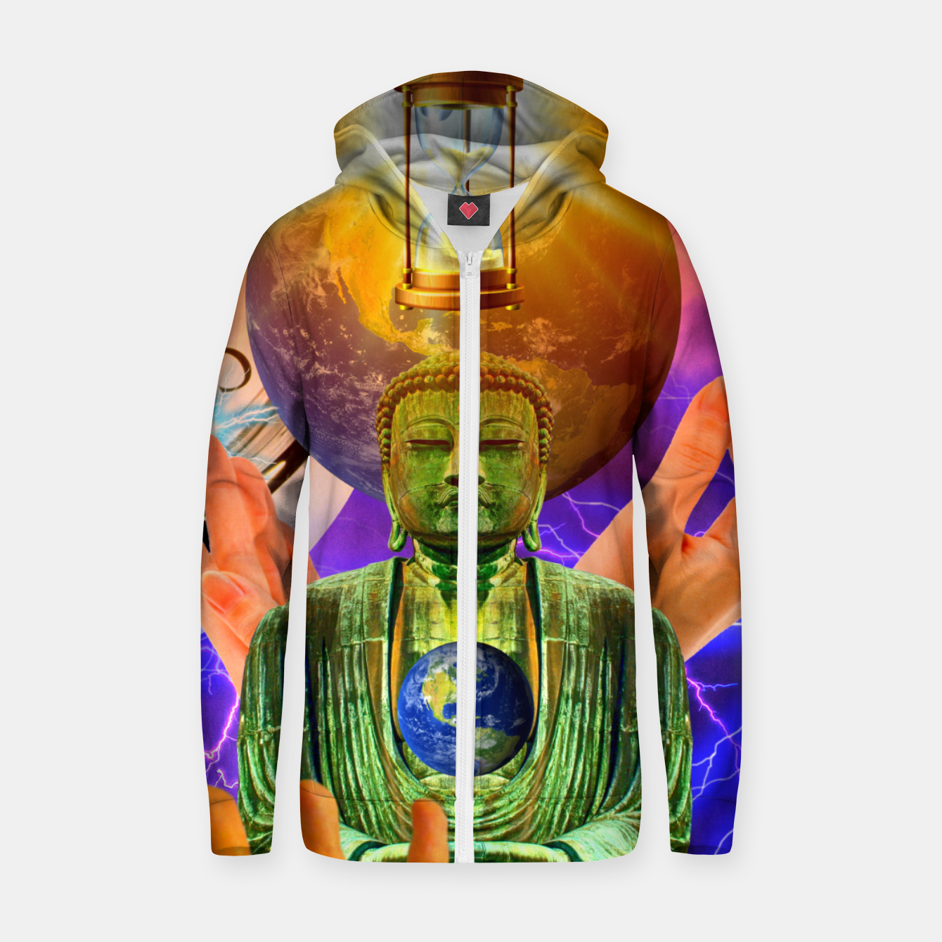 Image of BUDDHA TIME AND PLACE CROPPED Zip up hoodie - Live Heroes