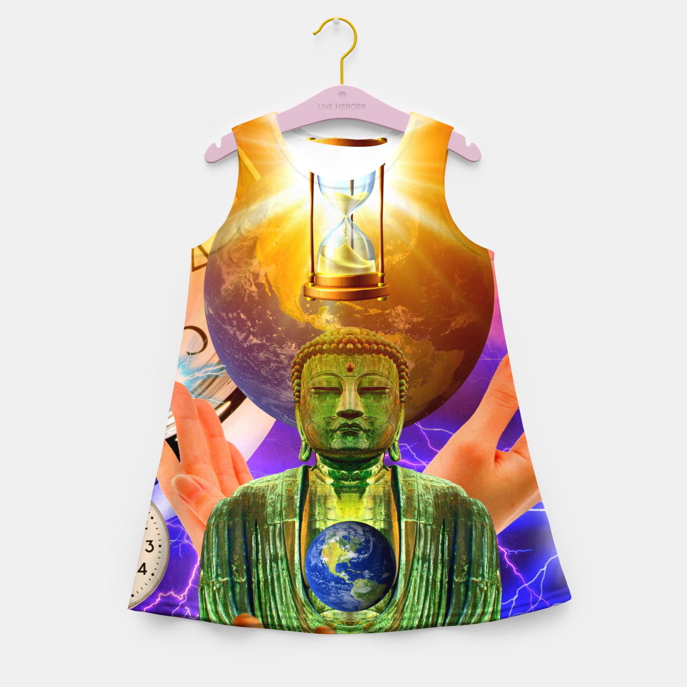 Image of BUDDHA TIME AND PLACE CROPPED Girl's summer dress - Live Heroes