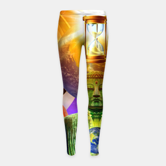 Thumbnail image of BUDDHA TIME AND PLACE CROPPED Girl's leggings, Live Heroes