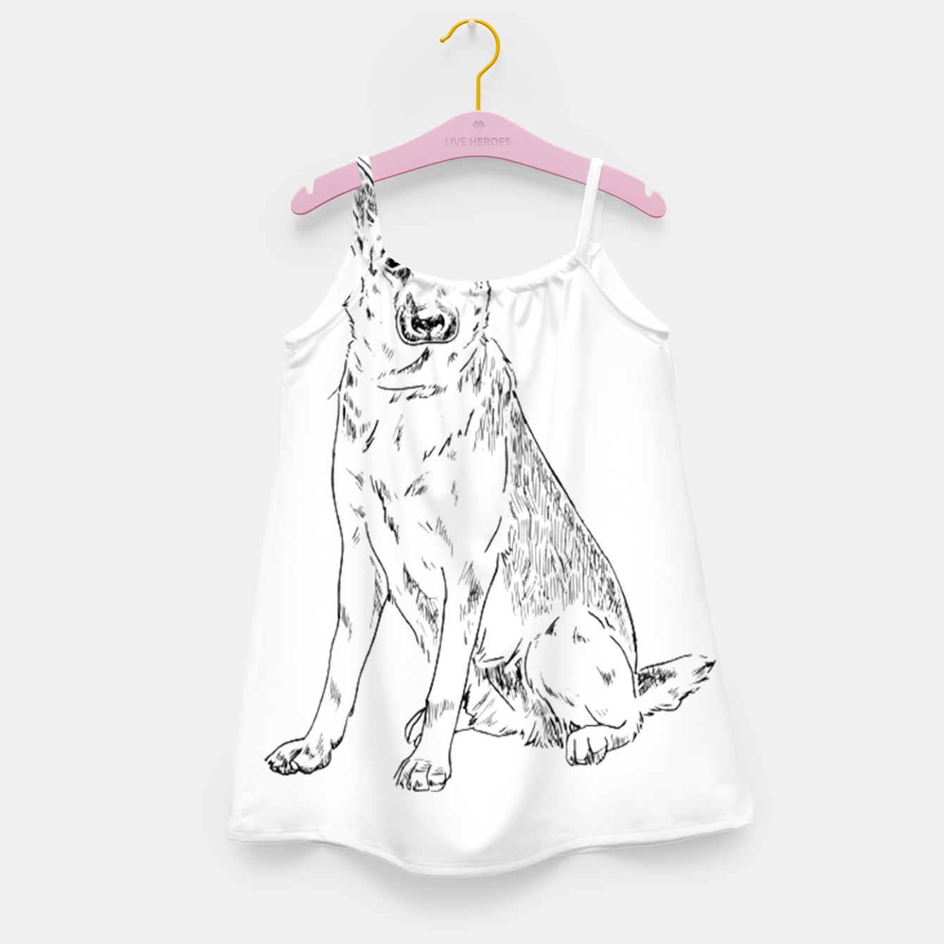 Image of  Hand Drawn Pet Dog Sketch Girl's dress - Live Heroes