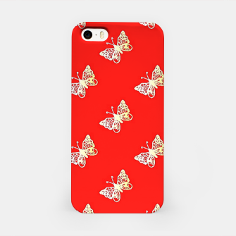 Miniatur Butterflies pattern on red iPhone Case, Live Heroes
