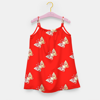 Thumbnail image of Butterflies pattern on red Girl's dress, Live Heroes