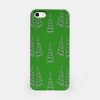 Miniatur Christmas trees on green iPhone Case, Live Heroes
