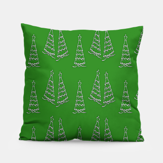 Thumbnail image of Christmas trees on green Pillow, Live Heroes