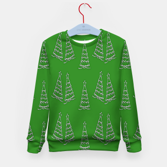 Thumbnail image of Christmas trees on green Kid's sweater, Live Heroes