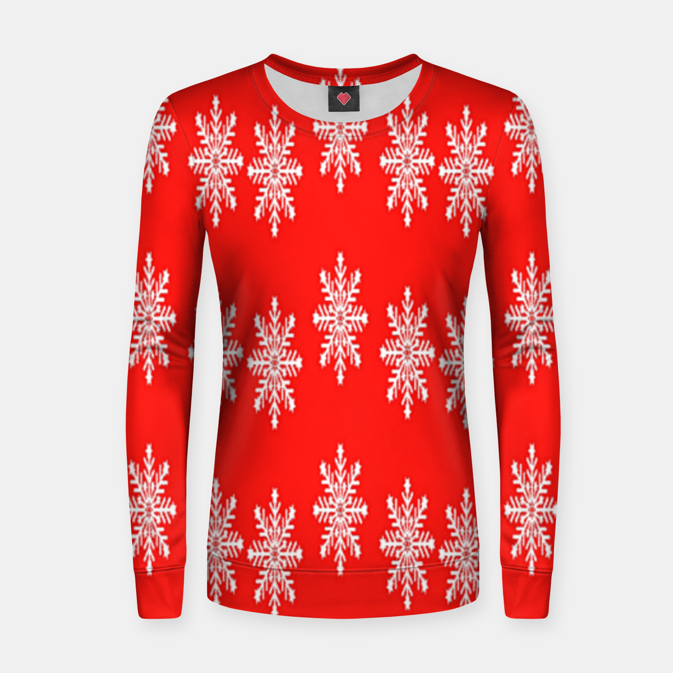 Image of White snowflakes on red Women sweater - Live Heroes