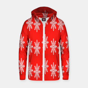 Thumbnail image of White snowflakes on red Zip up hoodie, Live Heroes