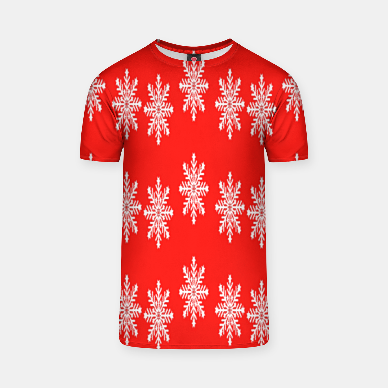 Image of White snowflakes on red T-shirt - Live Heroes