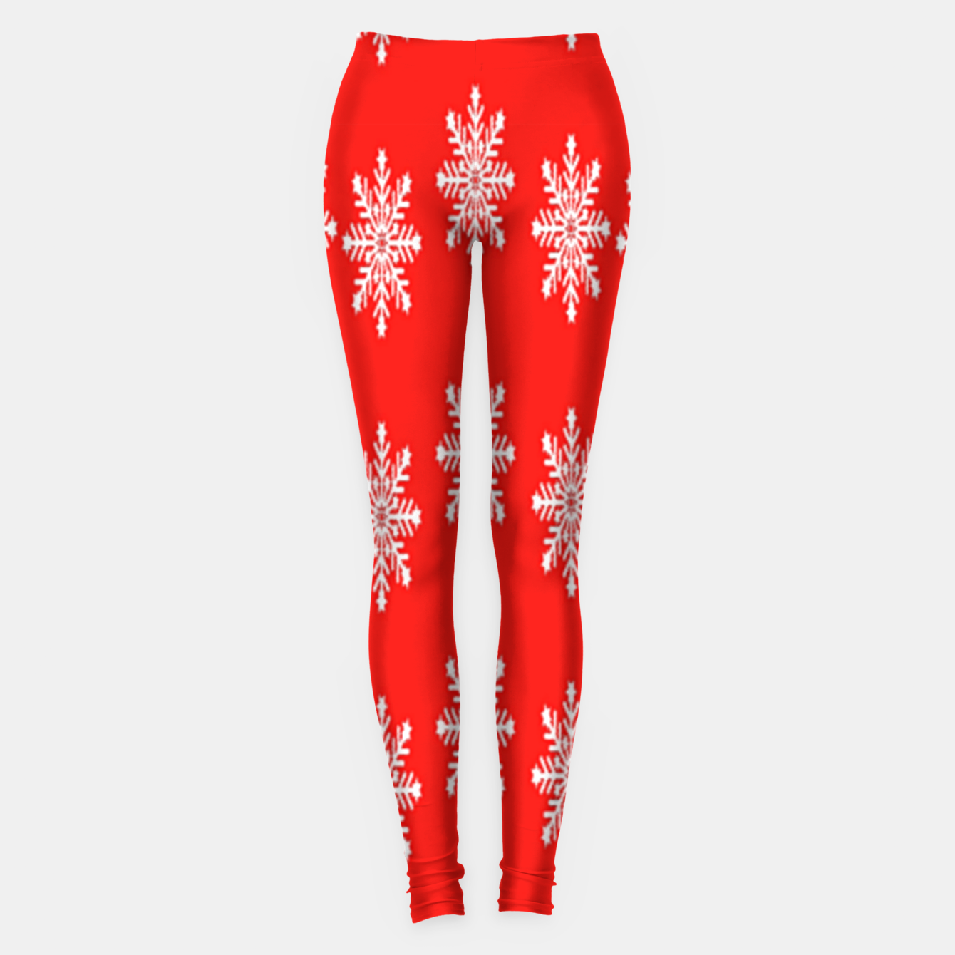 Image of White snowflakes on red Leggings - Live Heroes