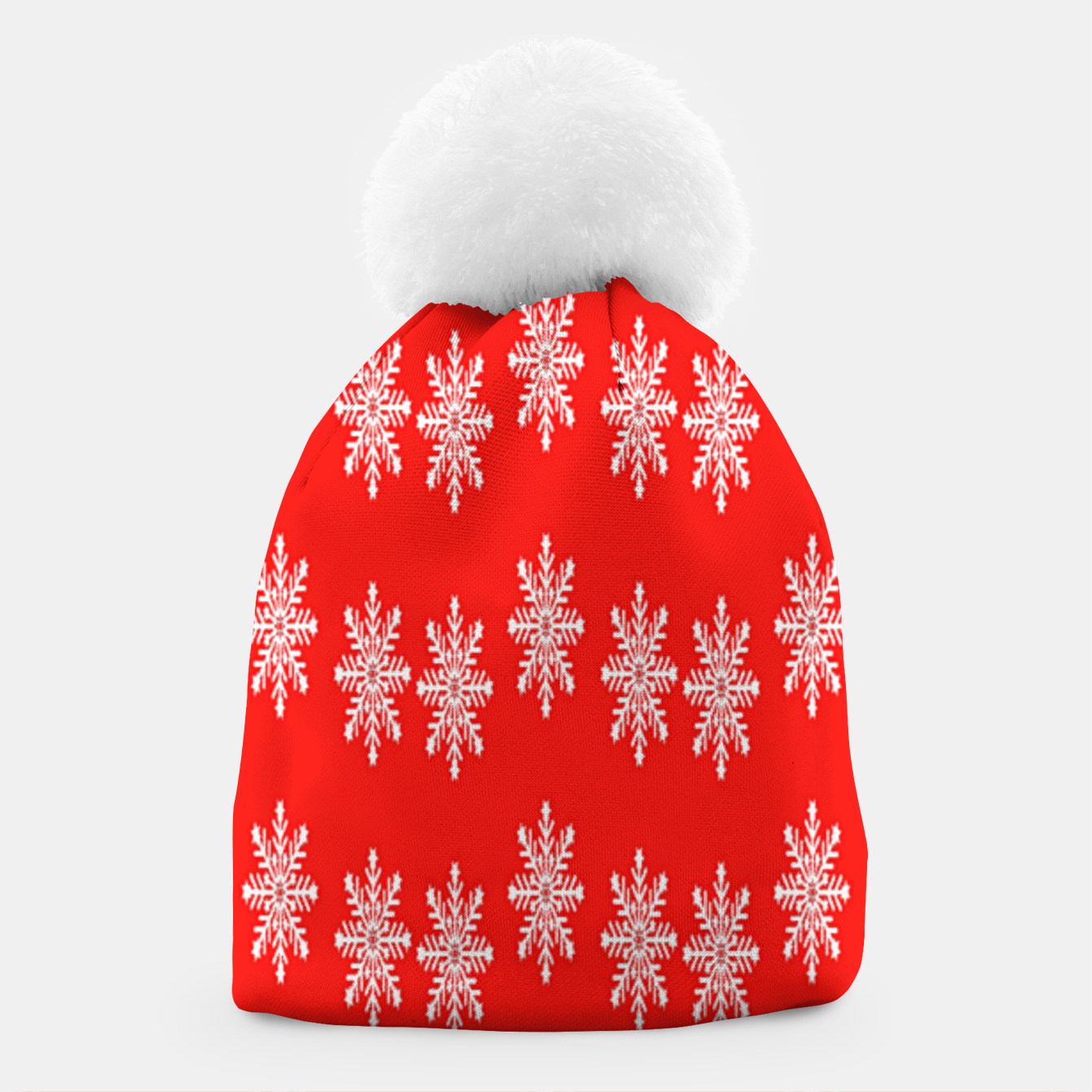 Image of White snowflakes on red Beanie - Live Heroes