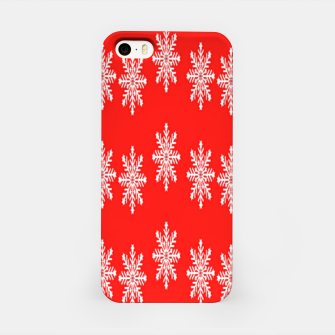 White snowflakes on red iPhone Case thumbnail image
