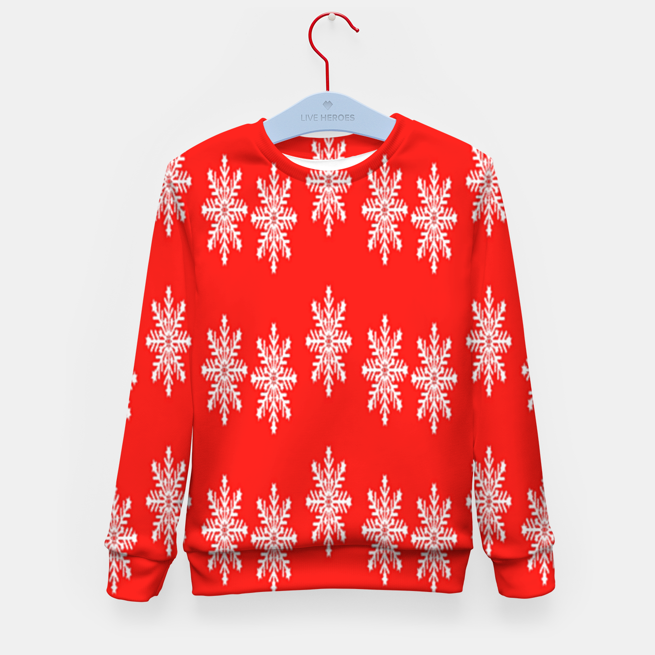 Image of White snowflakes on red Kid's sweater - Live Heroes