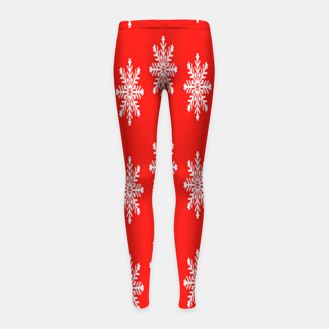 Image of White snowflakes on red Girl's leggings - Live Heroes