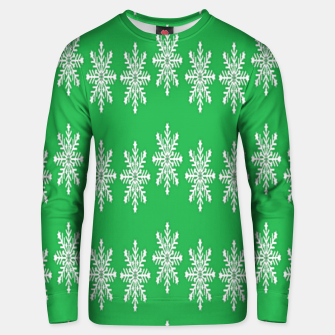 Thumbnail image of White snowflakes on green Unisex sweater, Live Heroes