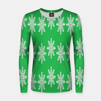 Thumbnail image of White snowflakes on green Women sweater, Live Heroes