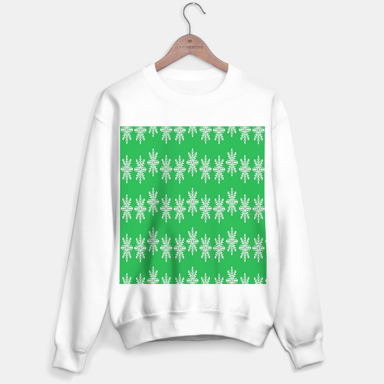 Image of White snowflakes on green Sweater regular - Live Heroes