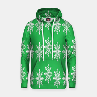 Thumbnail image of White snowflakes on green Hoodie, Live Heroes