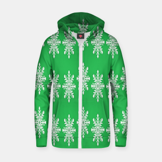 Thumbnail image of White snowflakes on green Zip up hoodie, Live Heroes
