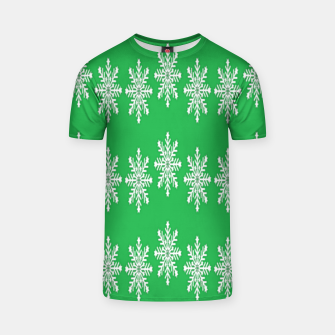 Thumbnail image of White snowflakes on green T-shirt, Live Heroes