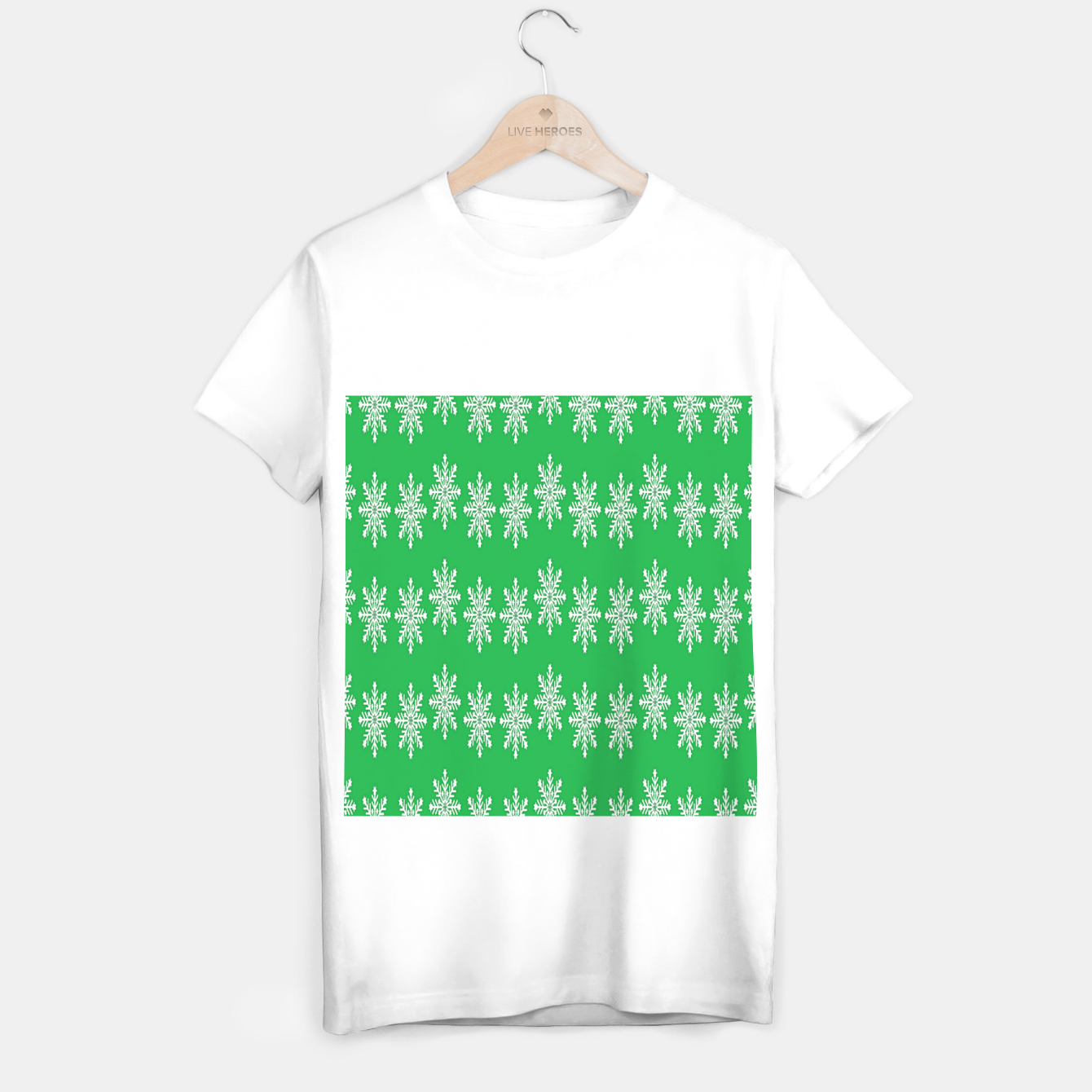 Image of White snowflakes on green T-shirt regular - Live Heroes