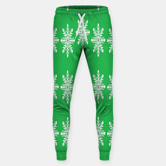 Thumbnail image of White snowflakes on green Sweatpants, Live Heroes