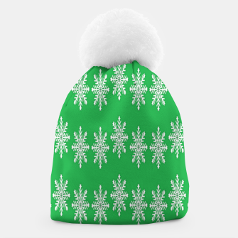 Thumbnail image of White snowflakes on green Beanie, Live Heroes