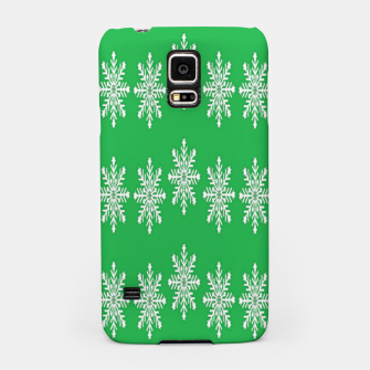 Thumbnail image of White snowflakes on green Samsung Case, Live Heroes