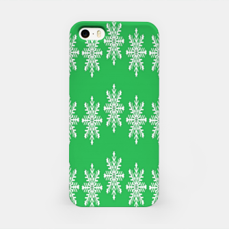Thumbnail image of White snowflakes on green iPhone Case, Live Heroes