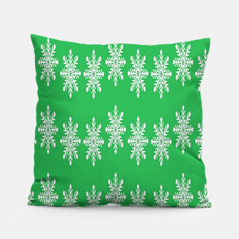 Thumbnail image of White snowflakes on green Pillow, Live Heroes