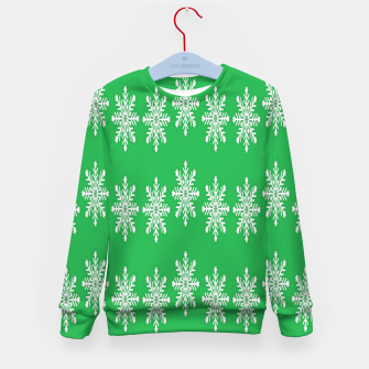 Thumbnail image of White snowflakes on green Kid's sweater, Live Heroes