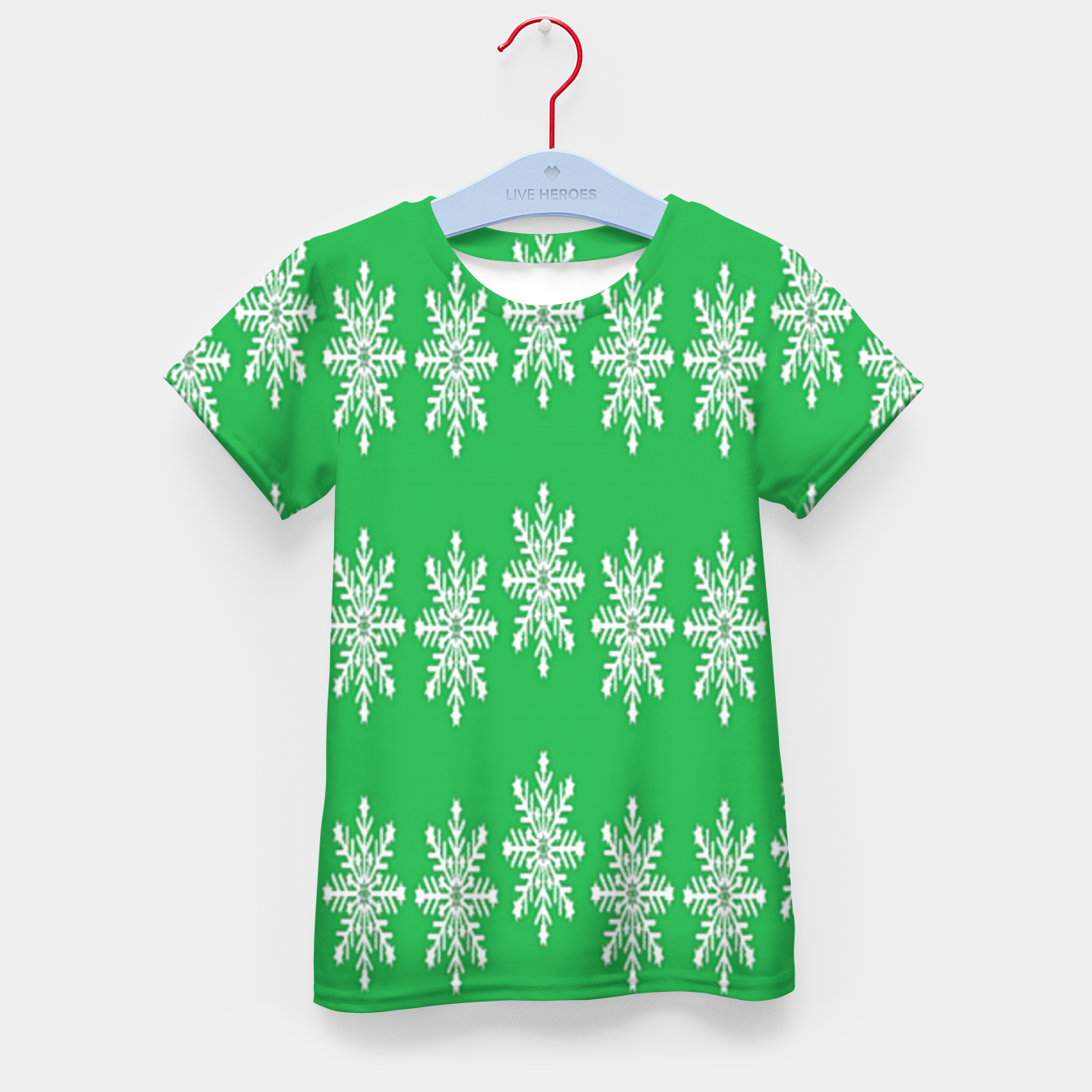 Image of White snowflakes on green Kid's t-shirt - Live Heroes