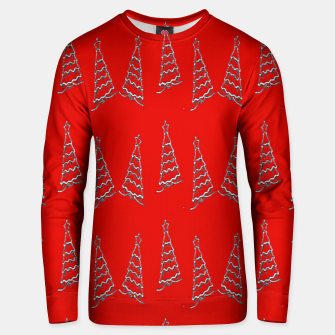 Thumbnail image of Christmas trees pattern on red Unisex sweater, Live Heroes