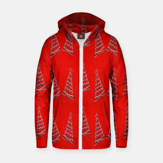 Thumbnail image of Christmas trees pattern on red Zip up hoodie, Live Heroes